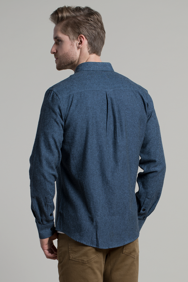 Dromore Twill Flannel shirt in Blue / Black