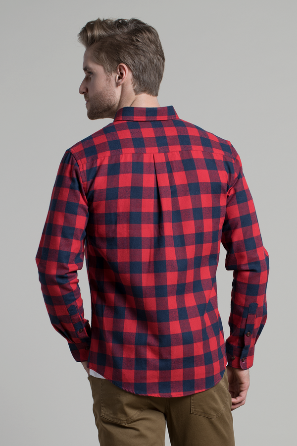 Clonmel Herringbone Buffalo check in Red / Navy