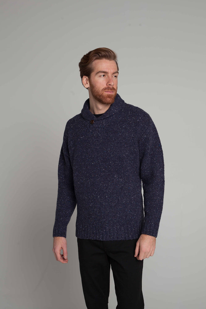Shawlneck Donegal Wool Sweater in Navy