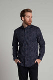 Monaghan Static Stretch Poplin Print Shirt in Navy