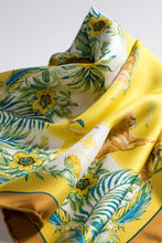 "Load images into the gallery viewer,Silk scarf ""Botanical"" Yellow 50 x 50"