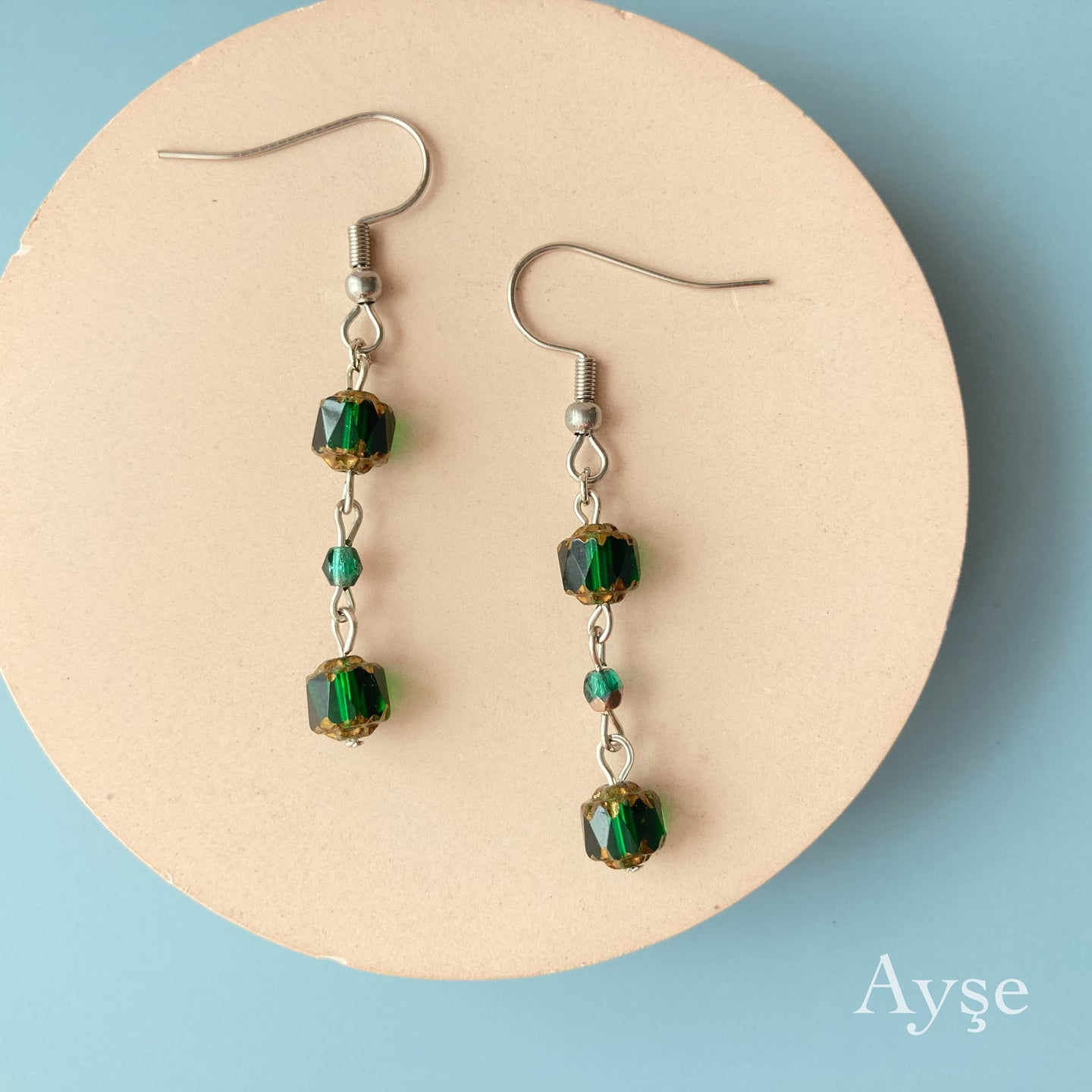 Czech Beads Pierce / Earring (Green)