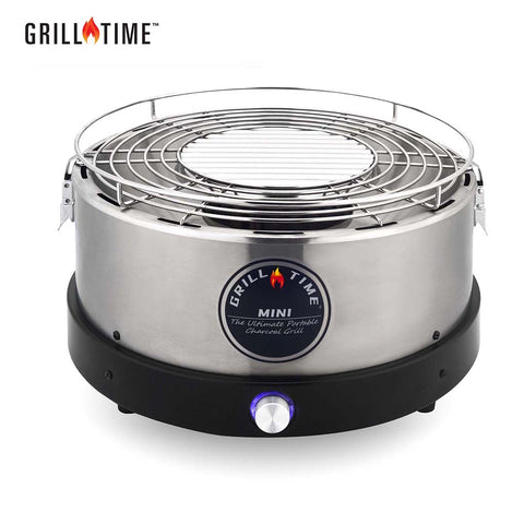 GrillTime The Ultimate Portable Charcoal Grill-Tailgater GT Mini Silver
