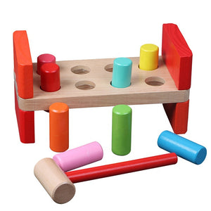 Wooden Pounding Bench with Mallet