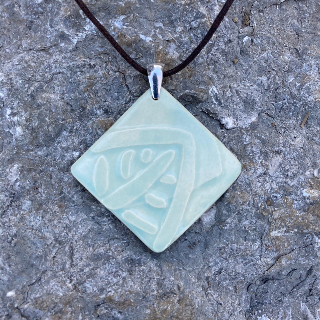 Ceramic Pendant with Leaf Motif | Celadon Square