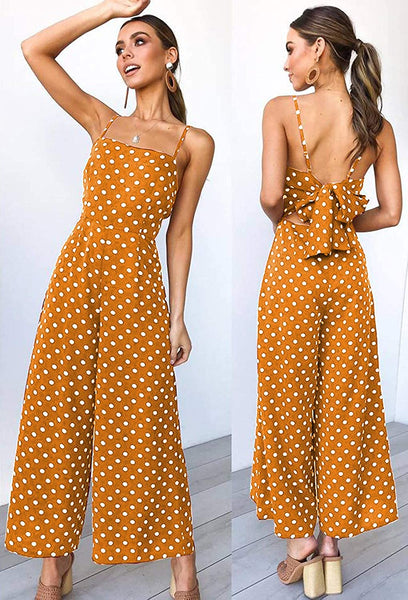 Women's Summer Wave Point Spaghetti Strap Sleeveless Casual Jumpsuit Rompers
