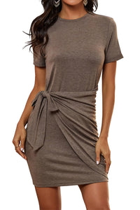 Women's Bodycon Tie Waist Pencil Party Mini Dress