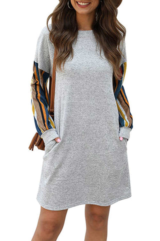 Women's Casual Striped Print Pullover Top Loose Midi A-line Dress