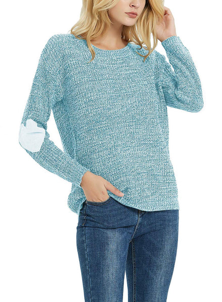 Women's Heart Patchwork Crewneck Knitted Pullover Sweater