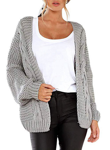 Women's Chunky Knitted Coat Long Sleeve Cardigan Casual Open Front Sweater Outwear