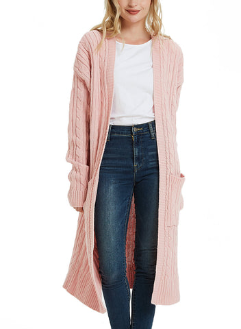 Women's Casual Twist Knitted Open Front Pocket Long Cardigan