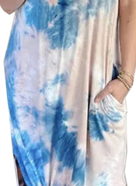 Women's Tie Dye Side Split Maxi Dresses with Pockets