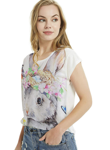 Women's Easter Bunny Graphic Easter Rabbit Print Short Sleeve Tops Casual Tee