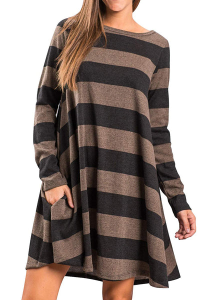 Women's Long Sleeve Loose Wide Striped Casual T-Shirt Dress