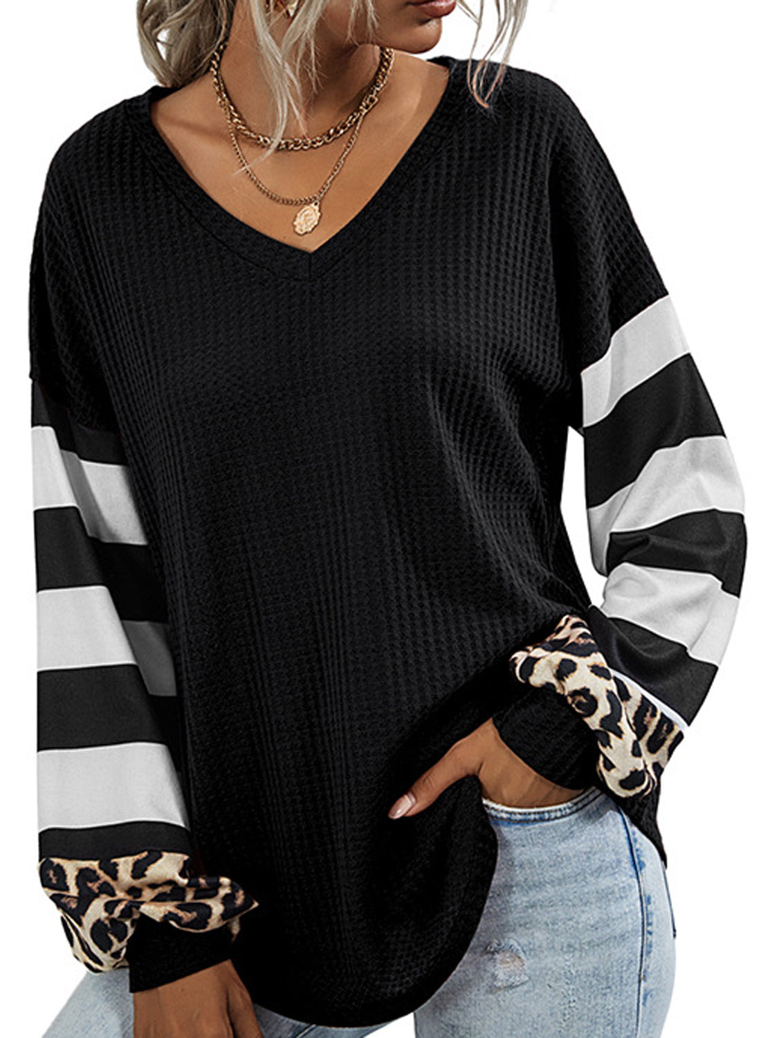 Women's Waffle Oversized Sweatshirt Blouse Tunic Tops