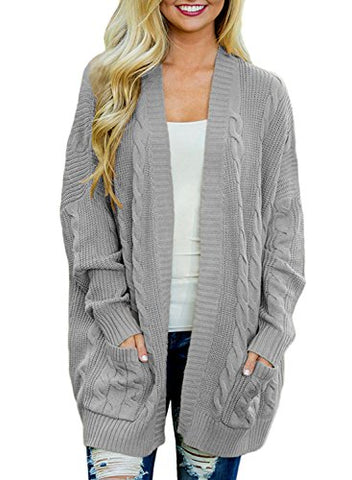 Women's Cable Twist Casual Cardigan Popcorn Sweaters