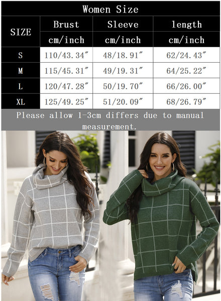 Women's Casual Plaid Turtleneck Sweater Pullover Tops
