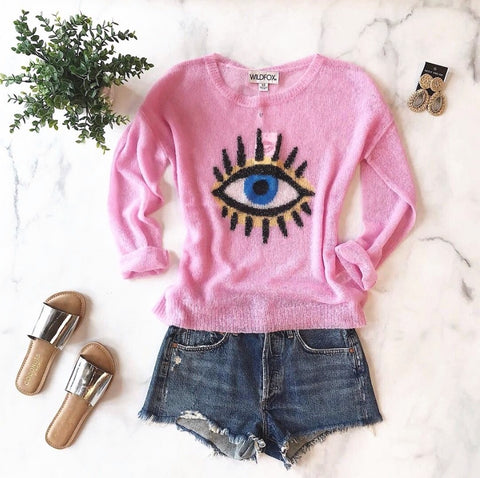 eye see you pink sweater