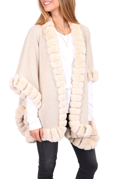 Cream Wool Poncho Wrap With Real Rex Rabbit Fur Trim | Jessimara London
