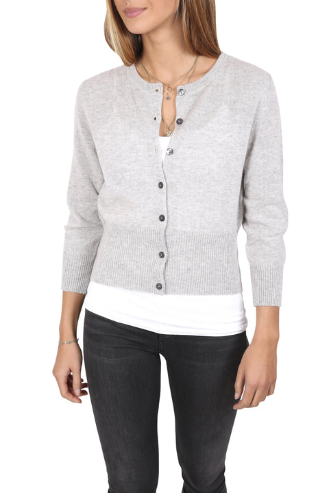 Short Ribbed 'Silver Marl' Cardigan | Jessimara London