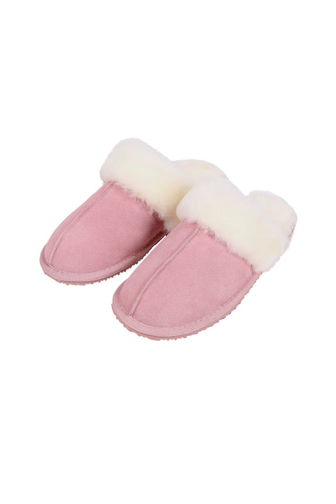 Pink and Cream Thin Sheepskin Slippers - Jessimara