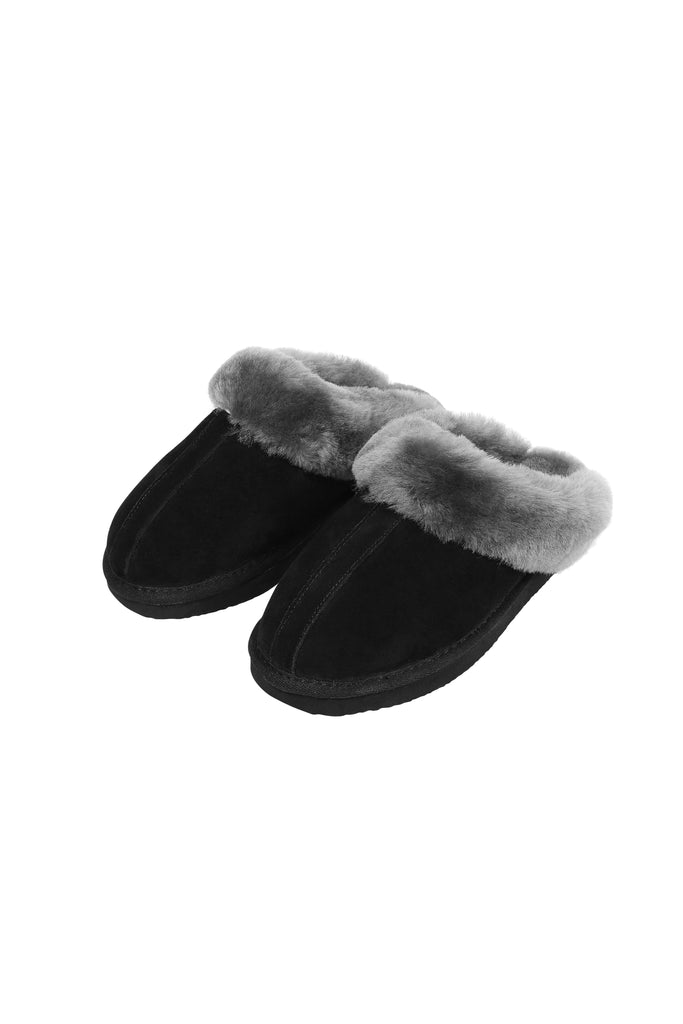 Grey on Black Sheepskin Wedge Slippers | Jessimara London