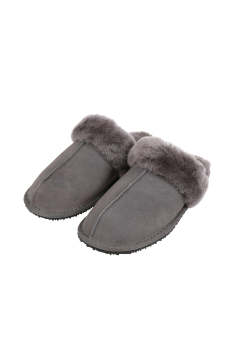 Dark Grey Thin Sheepskin Slipper | Jessimara London
