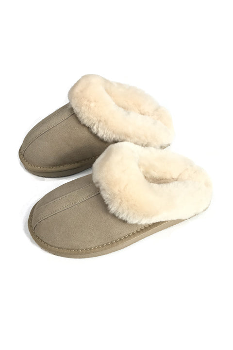 Beige Cream Luxury Sheepskin Wedge Slippers