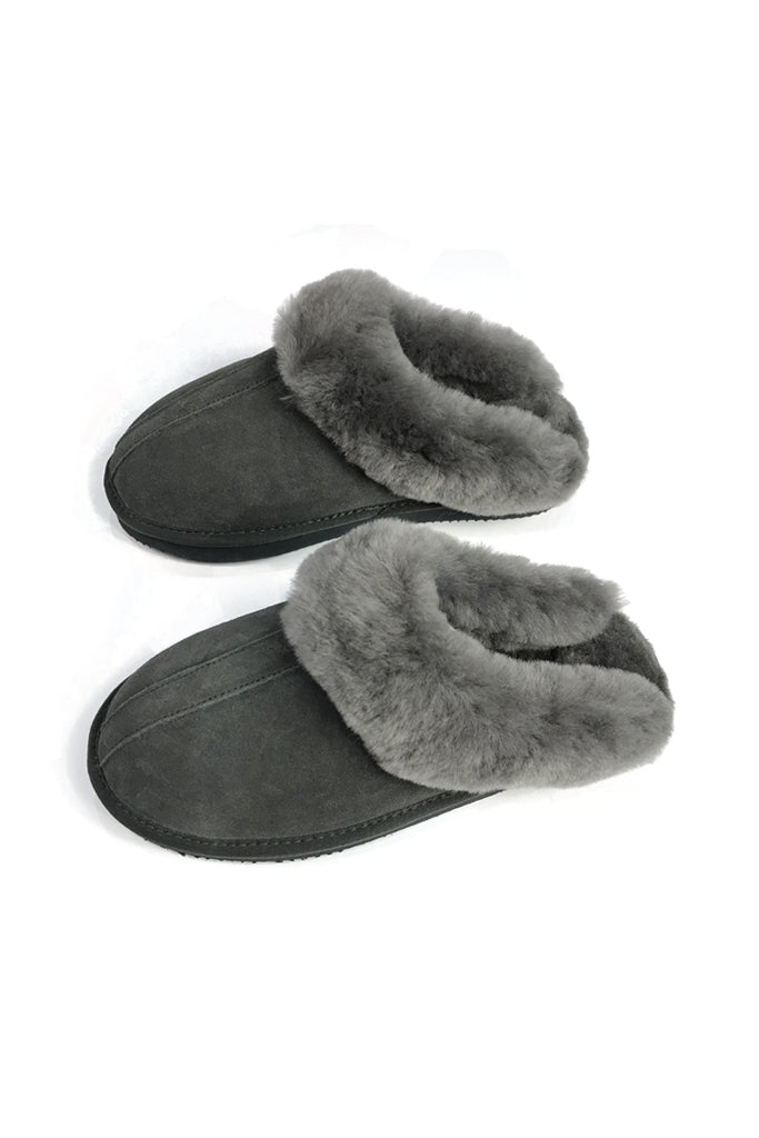 Dark Grey Luxury Sheepskin Wedge Slippers