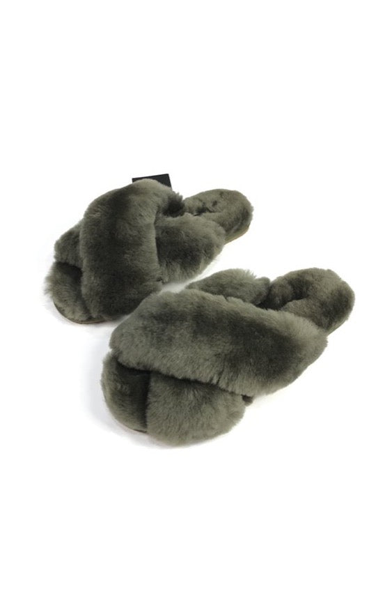 Khaki Green Criss Cross Luxury Sheepskin Slippers