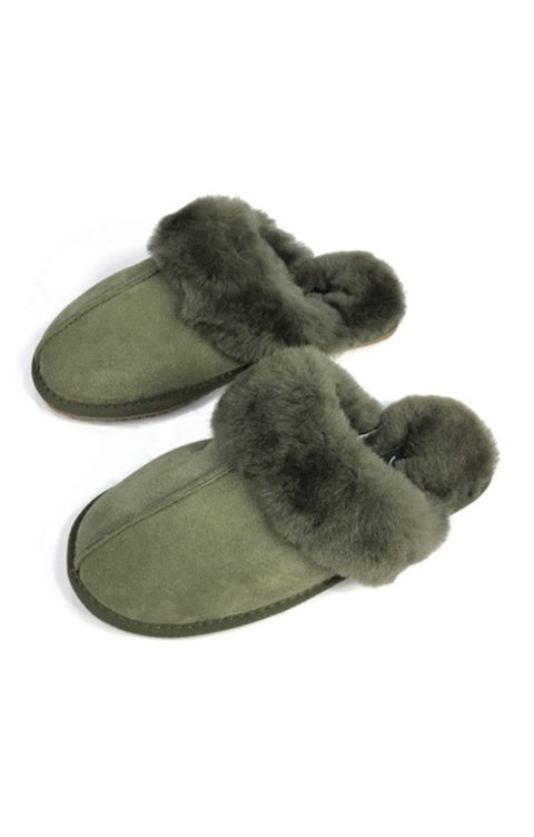 'Classic' Khaki Green Sheepskin Slippers