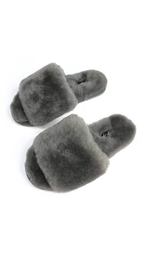 Dark Grey Sheepskin Shallow Slippers Sliders