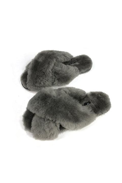 Dark Grey Criss Cross Luxury Sheepskin Slippers
