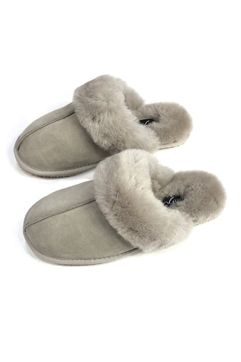 'Classic' Light Grey Sheepskin Slippers