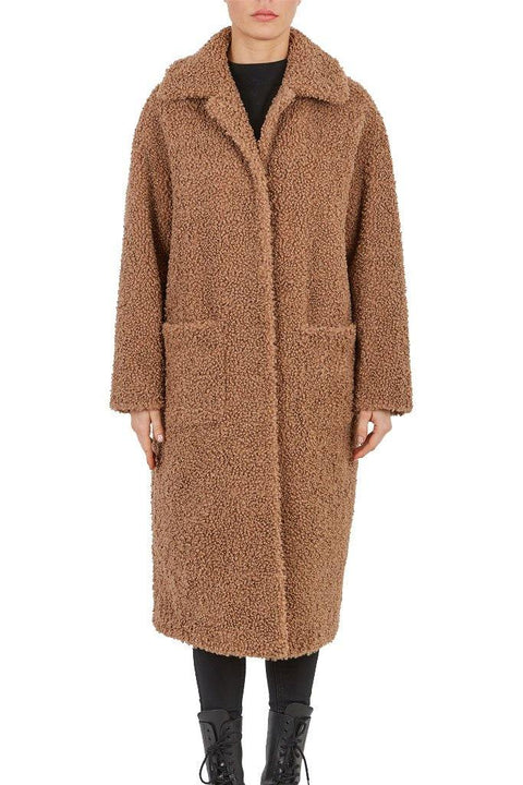 'Suzy' Camel Long Faux Fur Coat