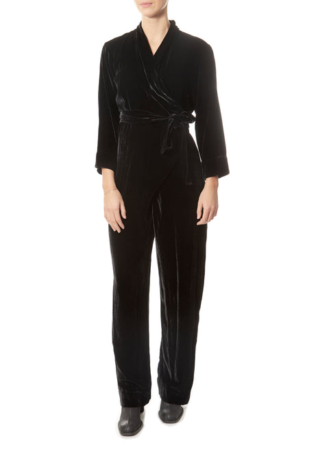 'Dusk Silk' Velvet Black Jumpsuit | Jessimara London