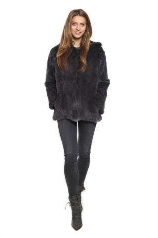 Fur 5 Eight Knitted Rex Rabbit Fur Hooded Jacket