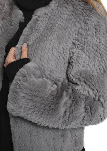 Fur 5 Eight Grey Knitted Rex Rabbit Fur Jacket