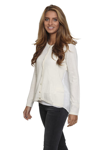 Jessimara Cream 'White cashmere' Silk Back Cardigan