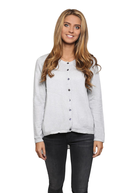 Jessimara Blue Grey 'White cashmere' Silk Back Cardigan | Jessimara London