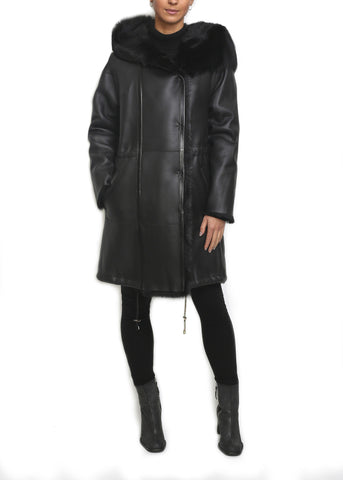 Jessimara Black Sheepskin Straight Parka Coat