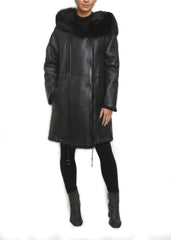 Jessimara Black Sheepskin Straight Parka Coat - Jessimara