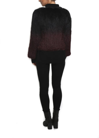 Jessimara Black\Burgundy Dip Dye Knitted Rabbit Jacket