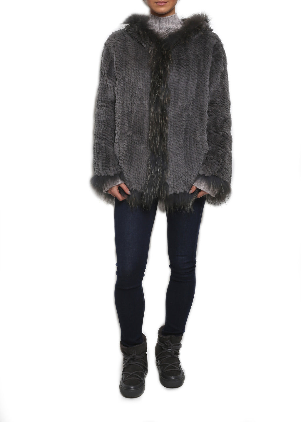 Hooded Knitted Real Rex Rabbit Fur & Raccoon Fur Jacket Jessimara - Jessimara