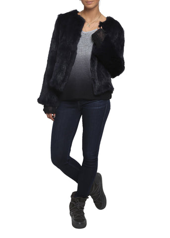 Fur 5 Eight Navy Knitted Rabbit Fur Jacket