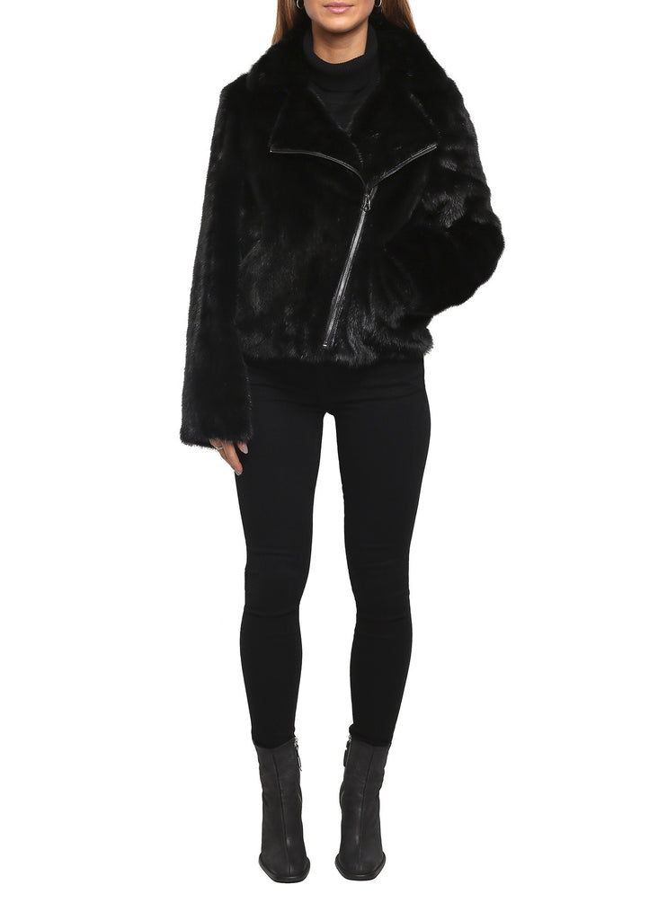 Black Mink Biker Jacket