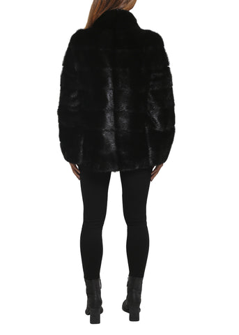 Jessimara Short Black Mink High Neck Panelled Coat