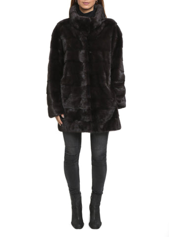 Jessimara Dark Brown High Neck Panelled Effect Mink Coat
