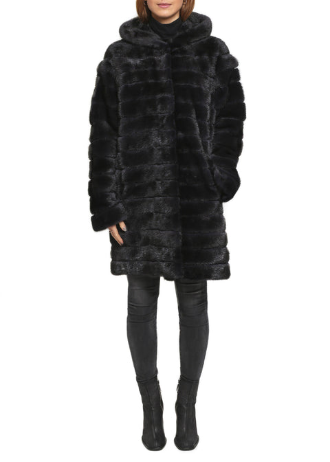 Jessimara Dark Grey Mink Fur Hooded Coat/Gilet | Jessimara London