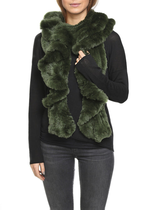 Green Knitted Real Rex Rabbit Fur 'Wave' Scarf | Jessimara London